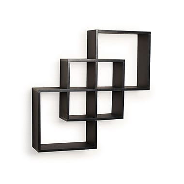 Danya B FF6013B Intersecting Squares Decorative Wall Shelf, Black