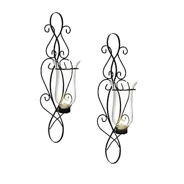 Danya B Baroque Sconce Set, Black, 2/Pack (KF360)