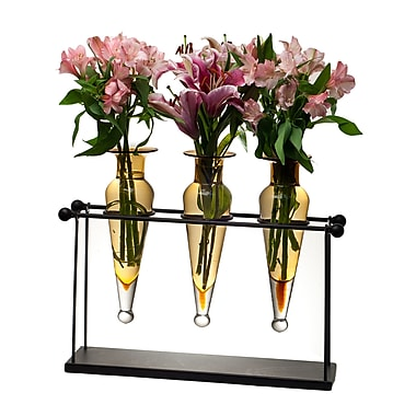 Danya B MC001-A Triple Amphora on Iron Stand with Finials Vases, Amber
