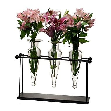 Danya B Triple Amphora on Iron Stand with Finials Vases, Clear (MC001-C)