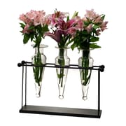 Danya B Triple Amphora on Iron Stand with Finials Vases