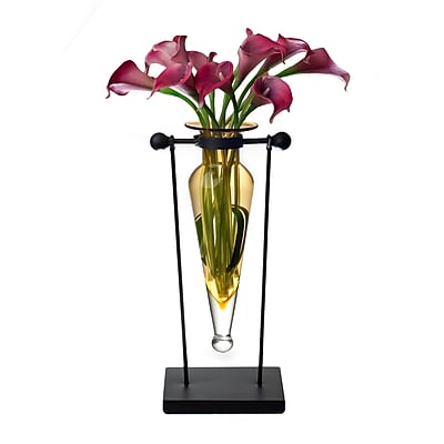 Danya B MC006-A Amphora Vase on Swiveling Iron Stand with Finials and Hinge, Amber