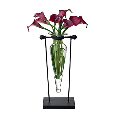 Danya B Amphora Vase on Swiveling Iron Stand with Finials and Hinge, Clear (MC006-C)