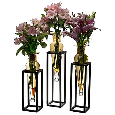 Danya B Amphorae Vases on Square Tubing Metal Stands, Amber, 3/Pack (MC025-A)