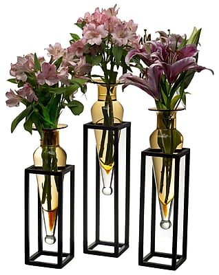 Danya B MC025-A Set of 3 Amphorae Vases on Square Tubing Metal Stands, Amber