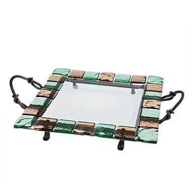 Danya B MC30714 Square Platter with Colored Glass Tiles on Metal Stand