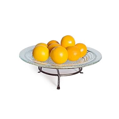 Danya B MC17216 Round Textured Glass Plate on Iron Raised Stand