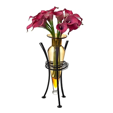 Danya B MC750-A Amphora Vase with Wire Stand, Amber