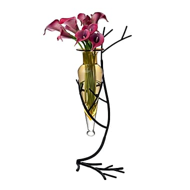 Danya B MC758-A Glass Vase on Twig Metal Stand, Amber