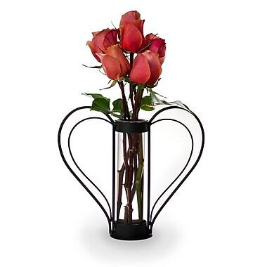 Danya B QB105S Iron Heart-shaped Sweetheart Flower Vase, Clear