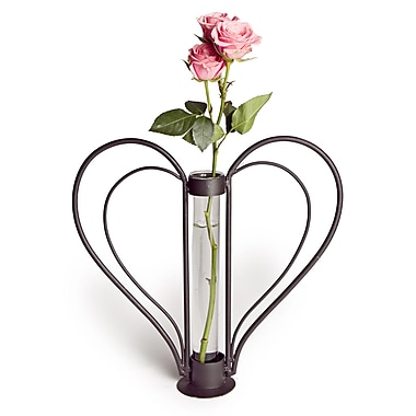 Danya B QB106 Iron Heart-shaped Sweetheart Bud Vase, Clear