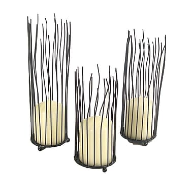 Danya B QBA045 Willow Iron Candleholder 3 Piece Set, Black