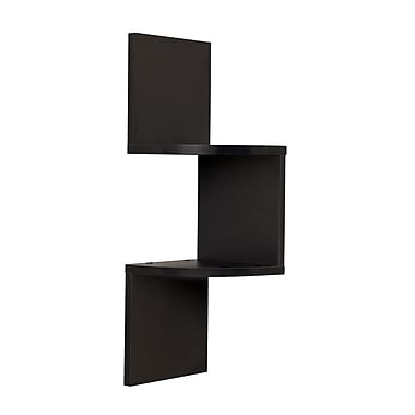 Danya B QBA671BK Laminated Corner Shelf in Black Finish