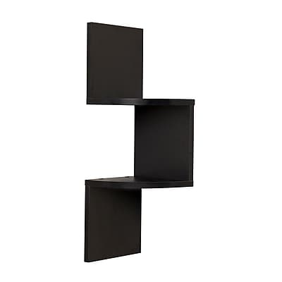 Danya B QBA671BK Laminated Corner Shelf in Black Finish