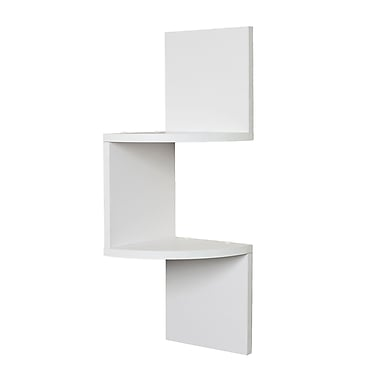 Danya B QBA671W Laminated Corner Shelf in White Finish