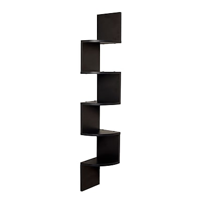 Danya B Large Laminated Corner Wall Mount Shelf, Black (XF11035BK)