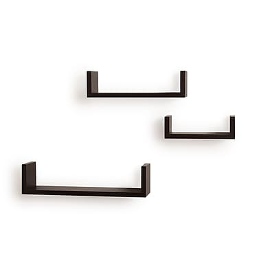 Danya B XF11039 Set of 3 Floating 'U' Laminated Shelves