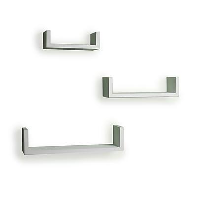 Danya B XF11039W Set of 3 Floating 'U' Laminated Shelves, White
