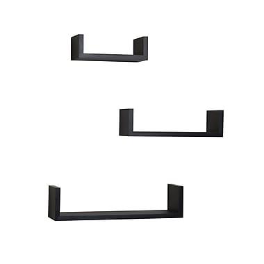 Danya B – Tablettes en « U » flottantes laminées, noir, 3/paquet (XF11039BK)