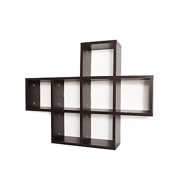 Danya B XF11056 Cubby Laminated Shelving Unit, Walnut Veneer