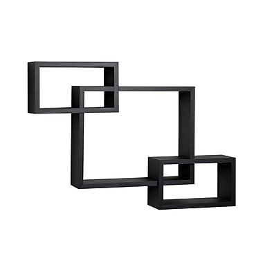 Danya B Intersecting Laminate Wall Shelf, Black (YU008BK)