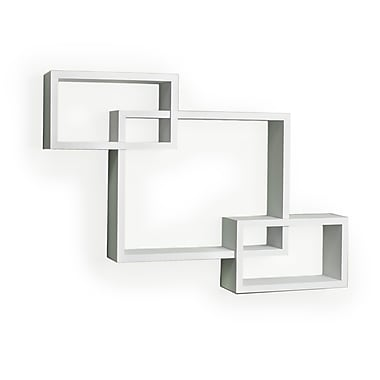 Danya B Intersecting Laminate Wall Shelf, White (YU008W)