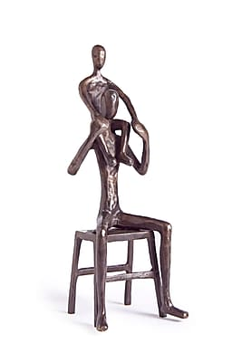 Danya B ZD11028 Father sitting on Bench with Child on Shoulders Sculpture