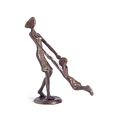 Danya B ZD9310 Mother Playing and Swinging Child Cast Bronze Sculpture Figurine