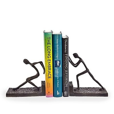 Danya B ZI6314 Men Pushing Metal Bookend Set, Brown/Gold