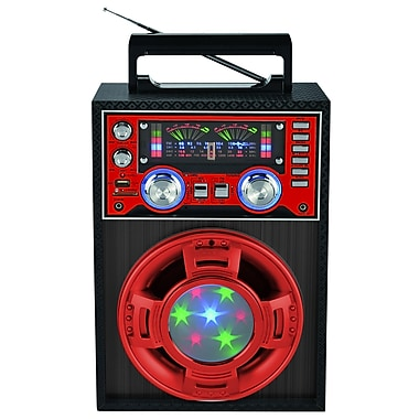Supersonic® SC-1353 Professional Active Speaker With Disco Light, Red