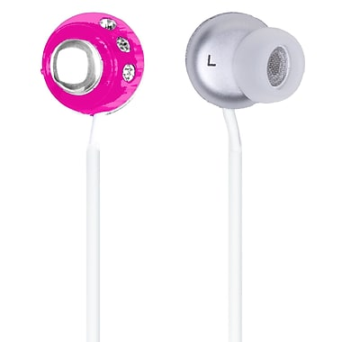 QFX® H-53 Lightweight Stereo Earbuds, Pink