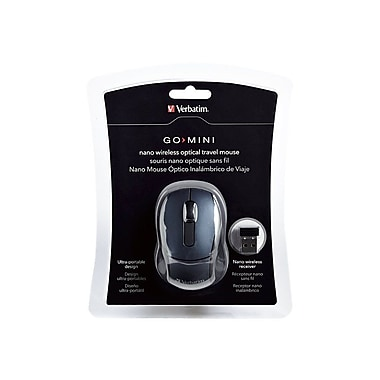 Verbatim 97470 USB Wireless Mini Travel Optical Mouse, Graphite