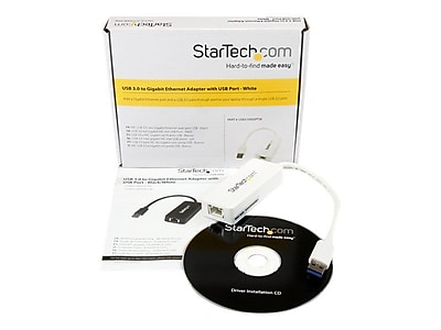 StarTech USB31000SPTB USB 3.0 to Gigabit Ethernet Adapter NIC With USB-Port, White