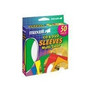 Maxell® CD/DVD Sleeve, Assorted, 50/Pack