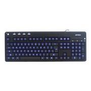A4Tech® KD-126 Blue LED Backlit Multimedia Wired Keyboard, Black