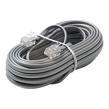 STEREN® 15' 6C Telephone Line Cord, Silver