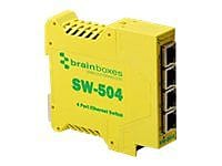 Brainboxes SW-504 Industrial Unmanaged Ethernet Switch, 4-Ports
