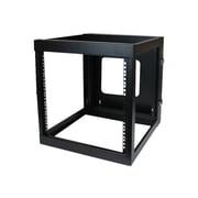 StarTech RK1219WALLOH 12U Hinged Open Frame Wall Mount Server Rack, Black