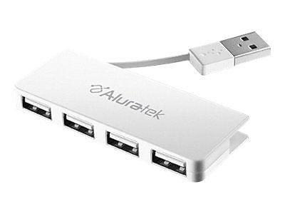 Aluratek 4-Port USB 2.0 Hub, White