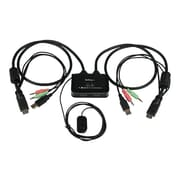 StarTech 2-Port USB HDMI Cable USB Powered KVM Switch With Audio and Remote Switch, Black