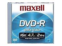 Maxell 638004 4.7 GB DVD-R Slim Jewel Case, 10/Pack