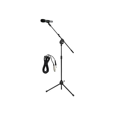 Pyle® PMKSM20 Microphone and Tripod Stand With Extending Boom & Mic Cable Package, Glossy Black