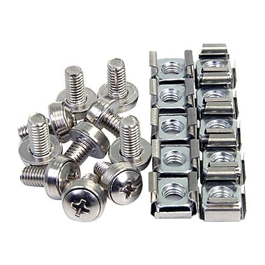 StarTech CABSCREWM62 Mounting Screws and Cage Nuts For Server Rack Cabinet, 100/Pack