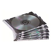 Fellowes Thin Jewel Case, Stores One CD/DVD and Booklet, Clear/Black, 25/Pk