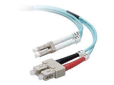 Belkin 10' LC/SC Male/Male 50/125 OM3 LO Duplex Multimode Fiber Optic Cable, Aqua (F2F402L7-10M-G)