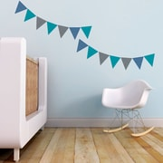 Trendy Peas Pennants Wall Decal; Teal / NavyBlue / Gray
