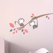 Trendy Peas Branch w/ Monkey Wall Decal; Brown / Gray / Strawberry