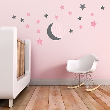 Trendy Peas Moon and Stars Wall Decal; Gray / Pink