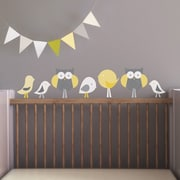 Trendy Peas Birds and Owls Wall Decal; Gray / Yellow / White