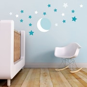 Trendy Peas Moon and Stars Wall Decal; White / Teal